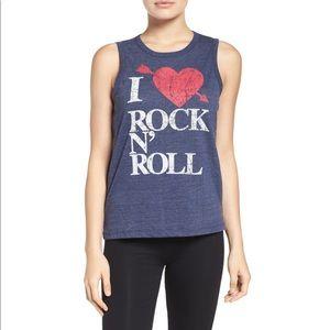Chaser I Heart Rock 'n' Roll Tank Blue Medium